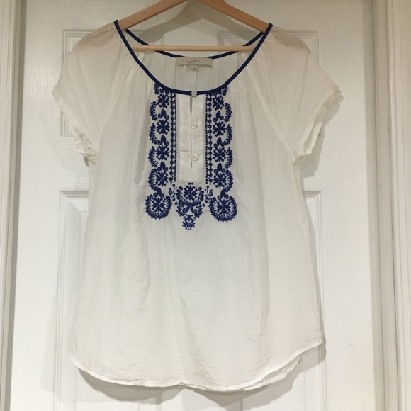 864ac326ec1 LOFT Tops - Ann Taylor Loft Short Sleeve Embroidered Shirt